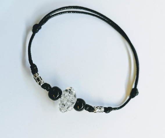 Pulsera Cuarzo Herkimer Diamante Plata Artesanal Turmalinado