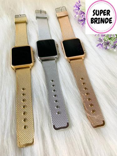 Relógio De Led Digital Moderno Modelo Chique Dourado Bronze