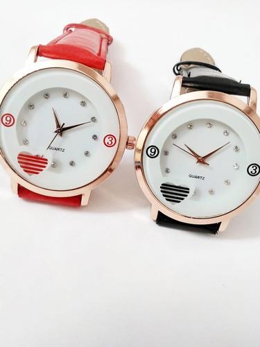 Relógio Feminino Estilo Coração Com Strass Pulseira Colorida