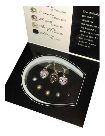 Collar Perlas Cultivadas 5 Colores+ Aretes Plata Doble Baño