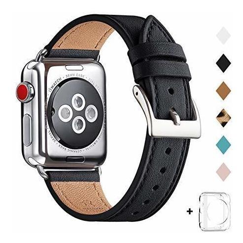 Banda Para Reloj Apple Watch 44mm Cuero Genuino Negro