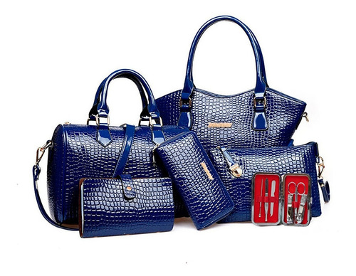 Imagen 1 de 10 de Set 6 Bolsas Estampada Mano Hombreo Dama Mujer Cosmetiquera