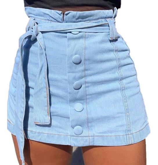Saia Short Jeans Clochard Botão Hot Pant Roupas Da Moda