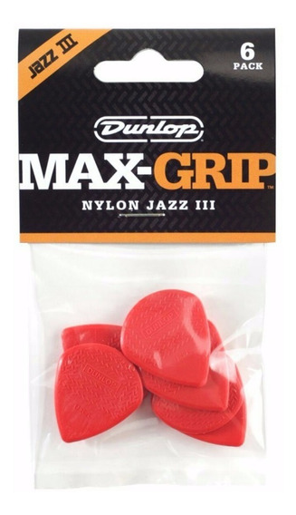 Palhetas Dunlop Max Grip Jazz 3 Nylon Carta Registrada