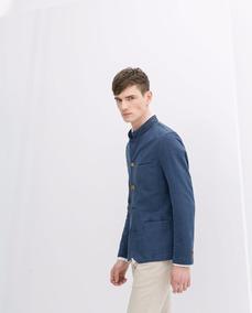 Blazer Zara Man Basic Exclusivo Color Azul Talla: S