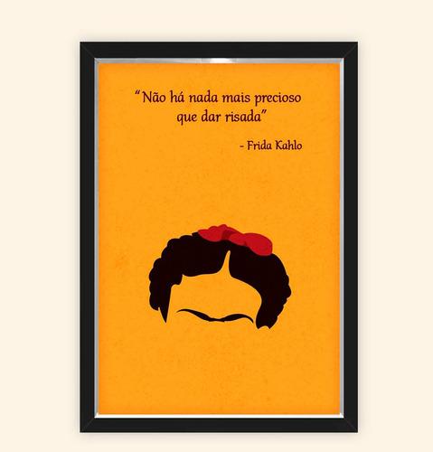 Quadro Caixa 23x33cm Frida Frase Laranja