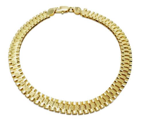 Pulsera Hombre Mujer Niños Tipo Rolex 2 Vistas Oro Lam18kt