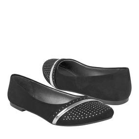 Flats Tropicana Para Mujer Suede Negro 46050