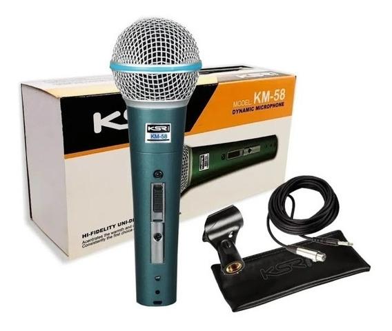 Microfone Profissional Ksr Pro Km58 C/ Bag Cachimbo E Cabo