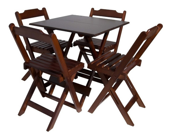Mesa Bar Com 4 Cadeiras Cor Imbuia