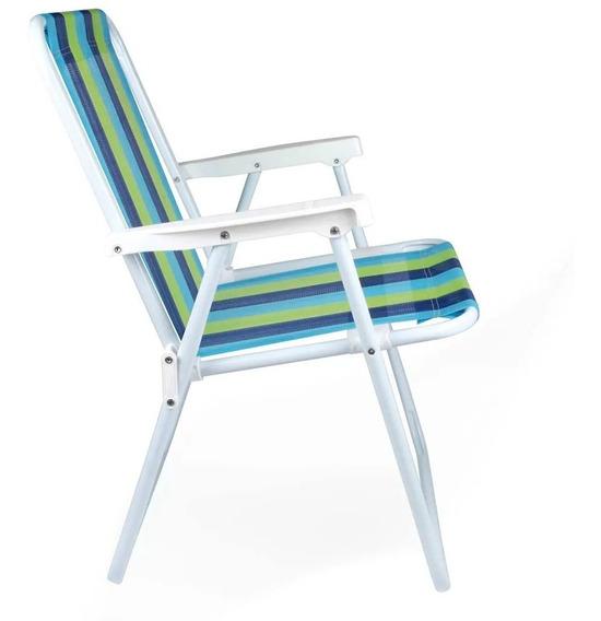 Cadeira Praia Dobravel Alta Aço Praia, Pscina, Mor 2220
