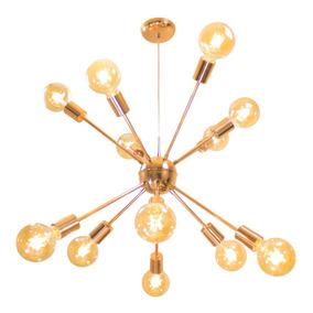 Pendente Sputnik Atom 70cm Cobre Brilho+12lamp Carbono St598