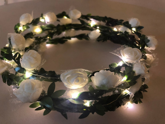 Corona Flores Blanca Vincha Led Tiara Hawaiana Coti Luminoso
