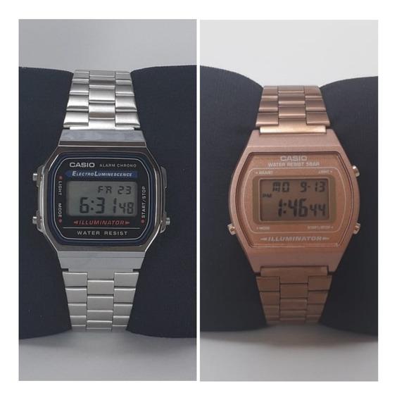 Kit Dois Relógios Casio Prata Rosê Feminino Vintage