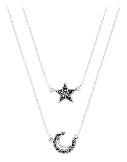Escapulário De Prata Shine Noite Estrelada Quatro Elementos