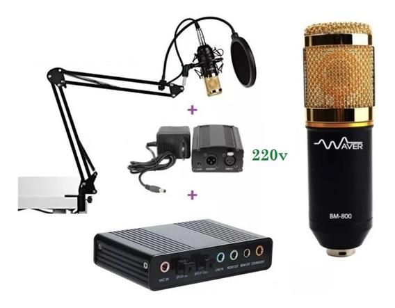 Microfone Bm800 + Phanton 220v+ Suporte Móvel+ Placa De Som