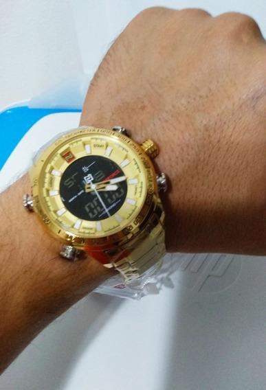 Relogio Naviforce 9093 Dourado Original A Pronta Entrega!!!