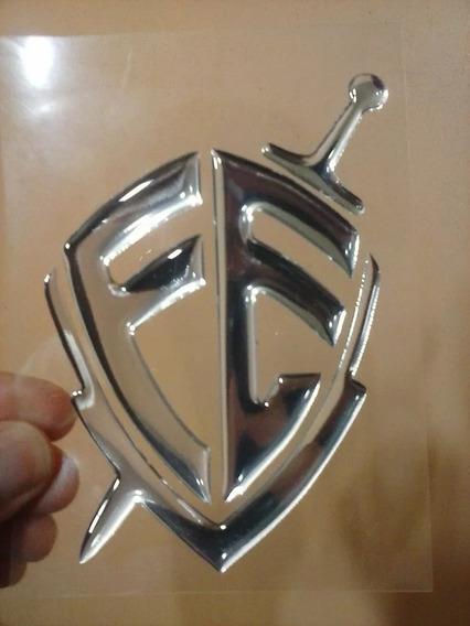 Adesivo Escudo Da Fé Resinado Alto Relevo 3d Prata Cromado