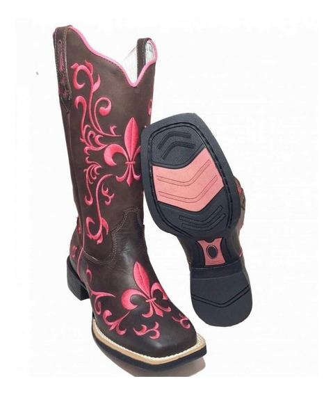 Bota Texana Feminina Cano Alto Em Couro Legitimo Bordada C61