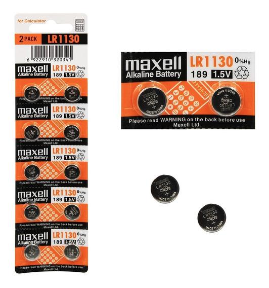 10 Baterias Pilha Maxell Lr 1130 Bateria Original Relógio