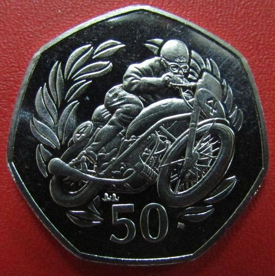 Isla De Man Moneda 50 Pence 1999 Unc 50º Motociclista Km 993