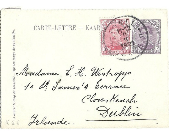 Bélgica Carta Tarjeta Postal Con Sellos 1921 Historia Postal