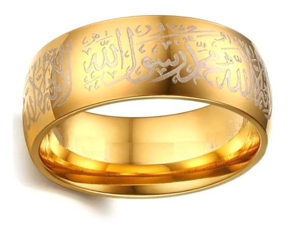 Anel Masculino Feminino Muçulmano Islâmico Aço Ouro 635 #