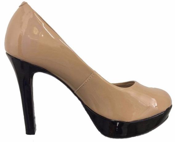 Sapato Scarpin Feminino Salto Alto Plataforma Verniz Nude