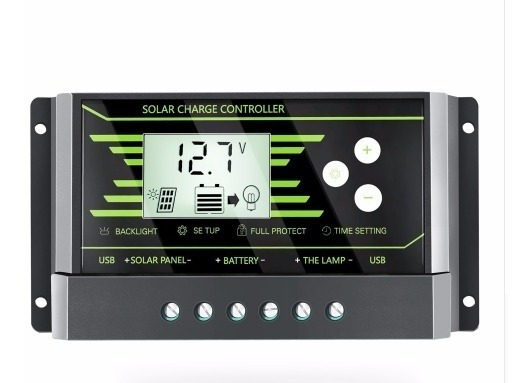 Controlador De Carga Solar Pwm 30a 12v/24v Lcd Usb