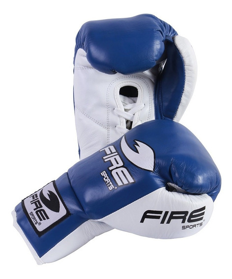 Guantes De Box Profesional Fire Sports 8oz 10oz 100% Piel Azul