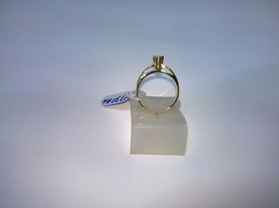 Anel Solitário Em Ouro 750 C/ 15 Pontos De Brilhante