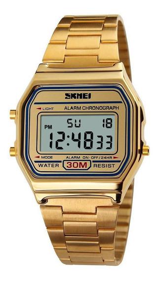 Relógio Feminino Skmei 1123 Digital Esportivo Retro Dourado