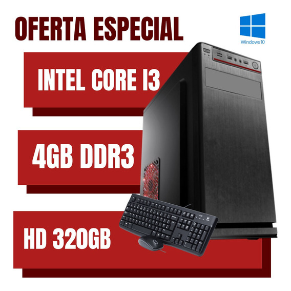 Pc Torre Intel Core I3 4gb Ram Hd 320gb Windows 10 + Brindes