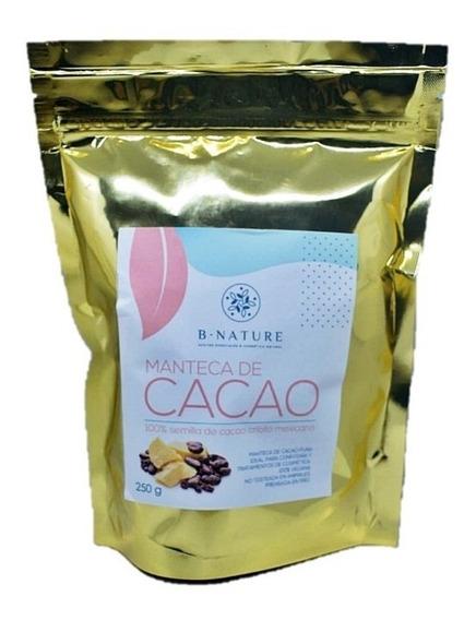 Manteca De Cacao Orgánica Grado Alimenticio Y Cosmética 250 Gramos Bnature