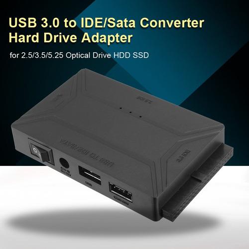 Usb 3.0 A 2.5 3.5 5.25 Ide Sata Disco Rígido Hdd Sdd Adaptad