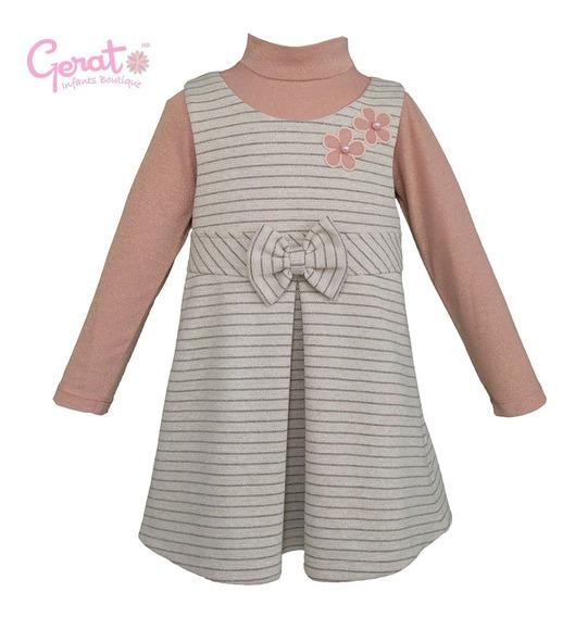 Vestido Para Niña Gerat Color Gris Con Blusa Palo De Rosa