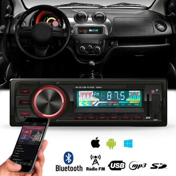 Toca Radio Bluetooth Fm Carro Mp3 Pen Drive Automotivo Usb Sd Aux