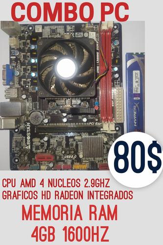 Imagen 1 de 1 de Combo Tarjeta Madre Procesador Y Memoria 4gb Ddr3 1600 Hz