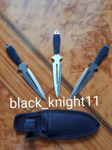 Kunais Cuchillos De Lanzamiento Plata Con Funda Espada Daga