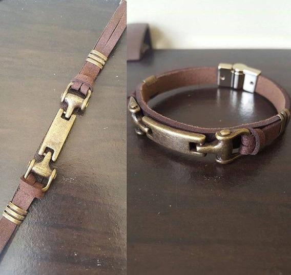 Pulseira Bracelete Masculina Feminina Em Couro Ouro Velho