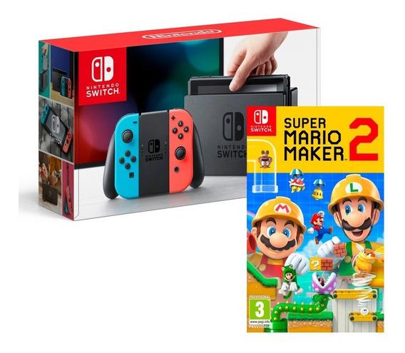 Nintendo Switch Neon + Super Mario Maker 2