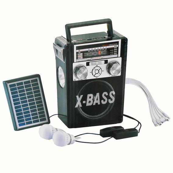 Caixa De Som Bluetooth Com Painel Solar Lanterna Carregador