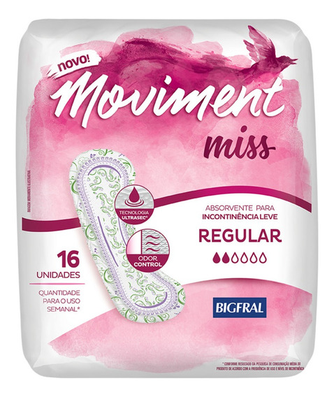 Absorvente Para Incontinência Moviment Miss Regular - 16 Un