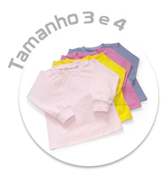 Camiseta Infantil Manga Longa Nº 3 / 4 - Algodão Kit C/ 4