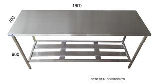 Mesa Inox De 1,90x70x90mt Preparo Cozinha