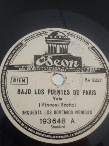 Orquesta Los Bohemios Vieneses Disco Pasta Odeon 193648 C23