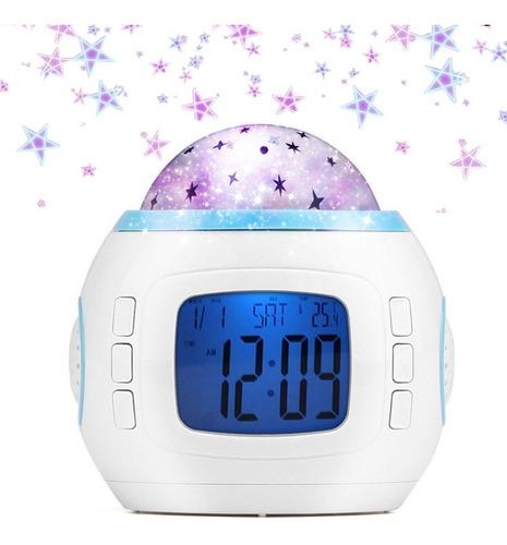 Imagen 1 de 8 de Reloj Despertador Digital Proyector Estrellas Con Musica