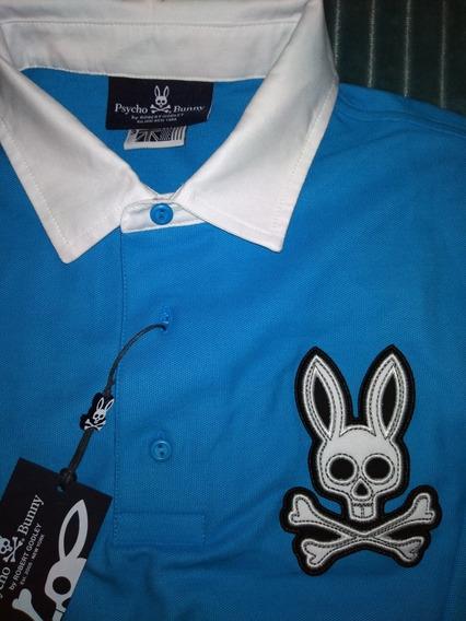 Camisa Psycho Bunny, Manga Larga Cuello Tipo Polo, Original