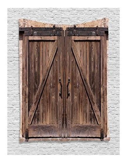 Tapiz Rústico Decoración Por Ambesonne, Puerta De Madera Del