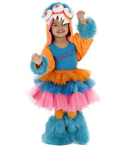 Disfraz Monster Snarly Niñas De 3 A 5 Años Halloween Nuevo